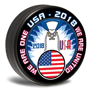 We are one. 2018 Team USA, Team USA hockey puck