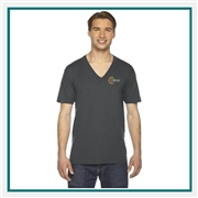 American Apparel Unisex Fine Jersey V-Neck T-Shirt 2456 with Custom Embroidery, Custom Embroidered American Apparel T-Shirts, American Apparel 2456 T-Shirt Best Price