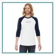 American Apparel Unisex Poly-Cotton 3/4-Sleeve Raglan T-Shirt with Silkscreen Logo, Custom Logo American Apparel T-Shirts, American Apparel BB453 T-Shirt Best Price