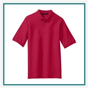 Port Authority Men's Silk Touch Polo with Pocket with Custom Embroidery, Port Authority Custom Pocket Polos, Port Authority Custom Logo Apparel