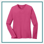 Port & Company Ladies Long Sleeve Cotton T-Shirt LPC54LS with Silkscreen Logo, Custom Logo Port & Company T-Shirts, Port & Company LPC54LS T-Shirt Best Price