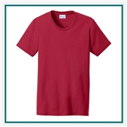 Port & Company Ladies Cotton/Poly T-Shirt LPC55 with Custom Embroidery, Custom Embroidered Port & Company T-Shirts, Hanes LPC55 T-Shirt Best Price