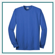 Port & Company-Long Sleeve Tee USA100LS with Silkscreen Logo, Custom Logo Port & Company T-Shirts, Port & Company USA100LS T-Shirt Best Price