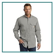 Carhartt Men's Force Ridgefield Solid Long Sleeve Shirt CT102418 with Custom Embroidery, Carhartt Custom Work Shirts, Carhartt Custom Logo Gear