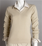 Greg Norman Women's V-Neck Drop Needle Sweater with Custom Embroidery, Greg Norman Custom Sweaters, Greg Norman Custom Logo Gear