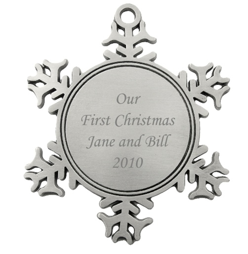 Engravable Snowflake Pewter Christmas Ornament