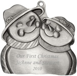 Engraved Hugging Snow Couple Pewter Ornament