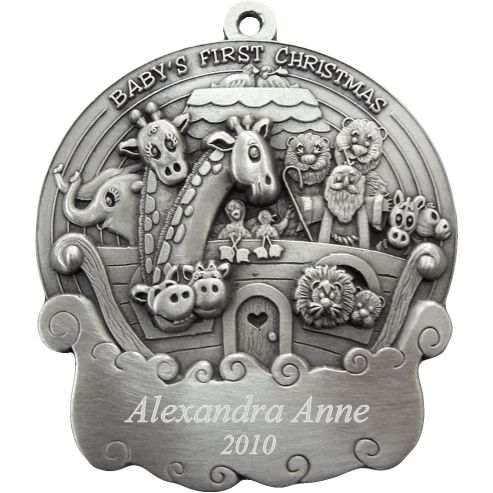Christmas Noahs Ark Personalized Pewter Ornament