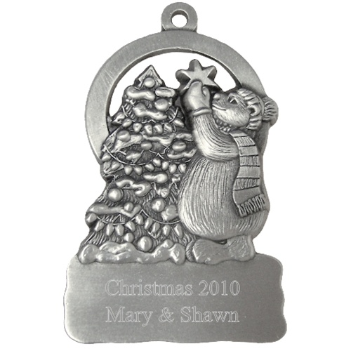 Polar Bear at Christmas Tree Engraved Pewter Ornament