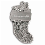 Pewter  Stocking Engraved Ornament