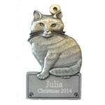Cat Engraved Pewter Ornament