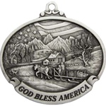 Personalized Pewter God Bless America Ornament