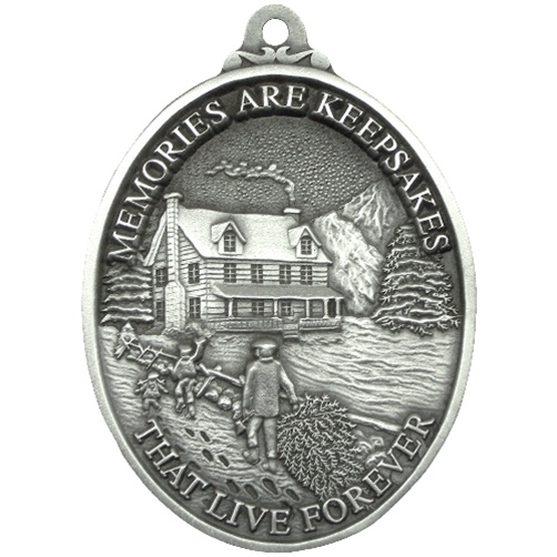 Personalized pewter memories at christmas ornament