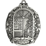 Personalized Window Scene Pewter Christmas Ornament
