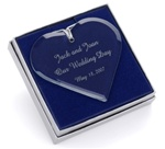 Glass Heart Engraved Ornament