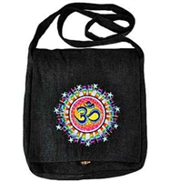 Wholesale Black Om Symbol Hemp Shoulder Bag