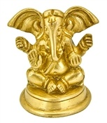 Ganesh Sitting on Round Base Brass Statue