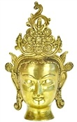 Goddess Tara Head with Yelli Crown and Flame Brass Statue