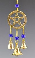 "CLB23<br><br> PENTACLE BRASS CHIME WITH BEADS-  9""L"