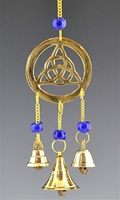 "CLB24<br><br> TRIQUETRA BRASS CHIME WITH BEADS - 9""L"