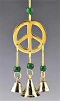 "CLB28<br><br>  Peace Sign Brass Chime with beads - 9""L"