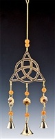 "CLB52<br><br> NEW TRIQUETRA BRASS CHIME WITH BEADS - 12""L"