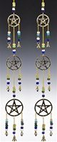 "CLB76<br><br> 3-PENTACLE BRASS CHIME W/BEADS 25""L"