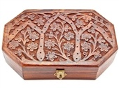 "WBX16<br><br> FLORAL CARVED HEXAGONAL WD BOX 5""X8"""