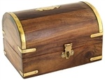"WBX73<br><br> WOODEN CHEST W/BRS INLAY 4""X6""X3.75"""