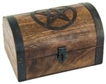 "WBX92<br><br> PENTACLE WOODEN CHEST 6""X4""X4"""