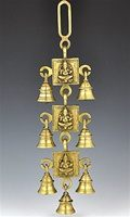 Three Lord Ganesh Solid Brass Wall Hanging Chime with Seven Bells