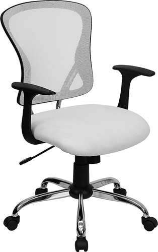 mid back white mesh office chair with chrome finished base h 8369f