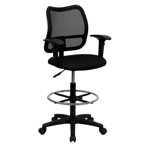 mid back mesh drafting stool with black fabric seat and arms wl a277