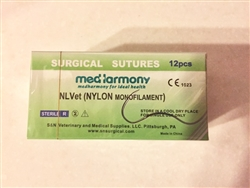 NLVet<SUP>TM</SUP> (Nylon) size 3-0 box of 12 suture packets 24mm reverse cutting needle 90cm, Monofilament Non-Absorbable
