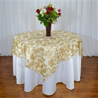 "72"" x 72"" Embroidered Flower Sequin Leaf Overlay"