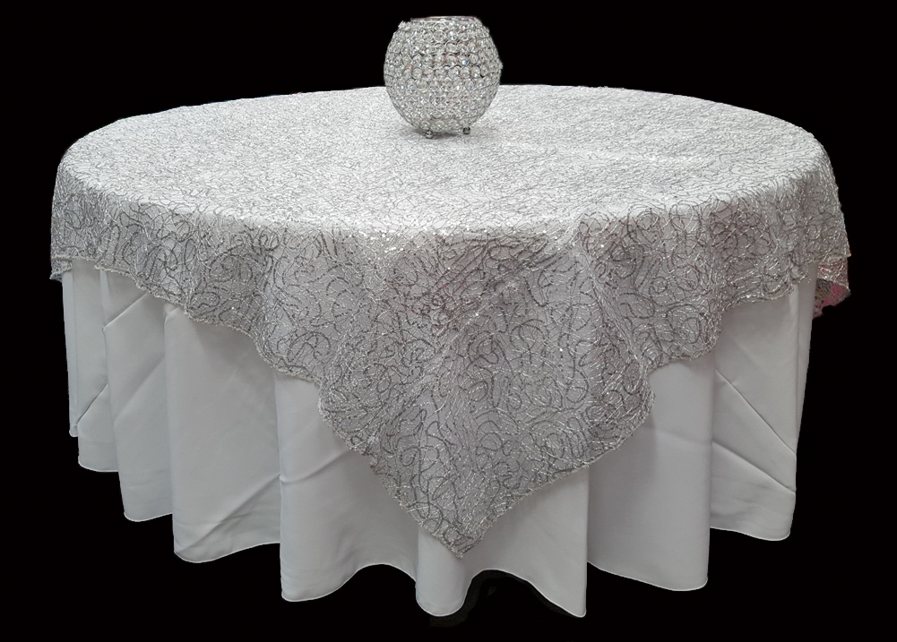 High Quality Spider Mesh Sequin Table Overlays Made In
