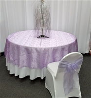 Lilac Flower Embroidered Organza Table Overlay