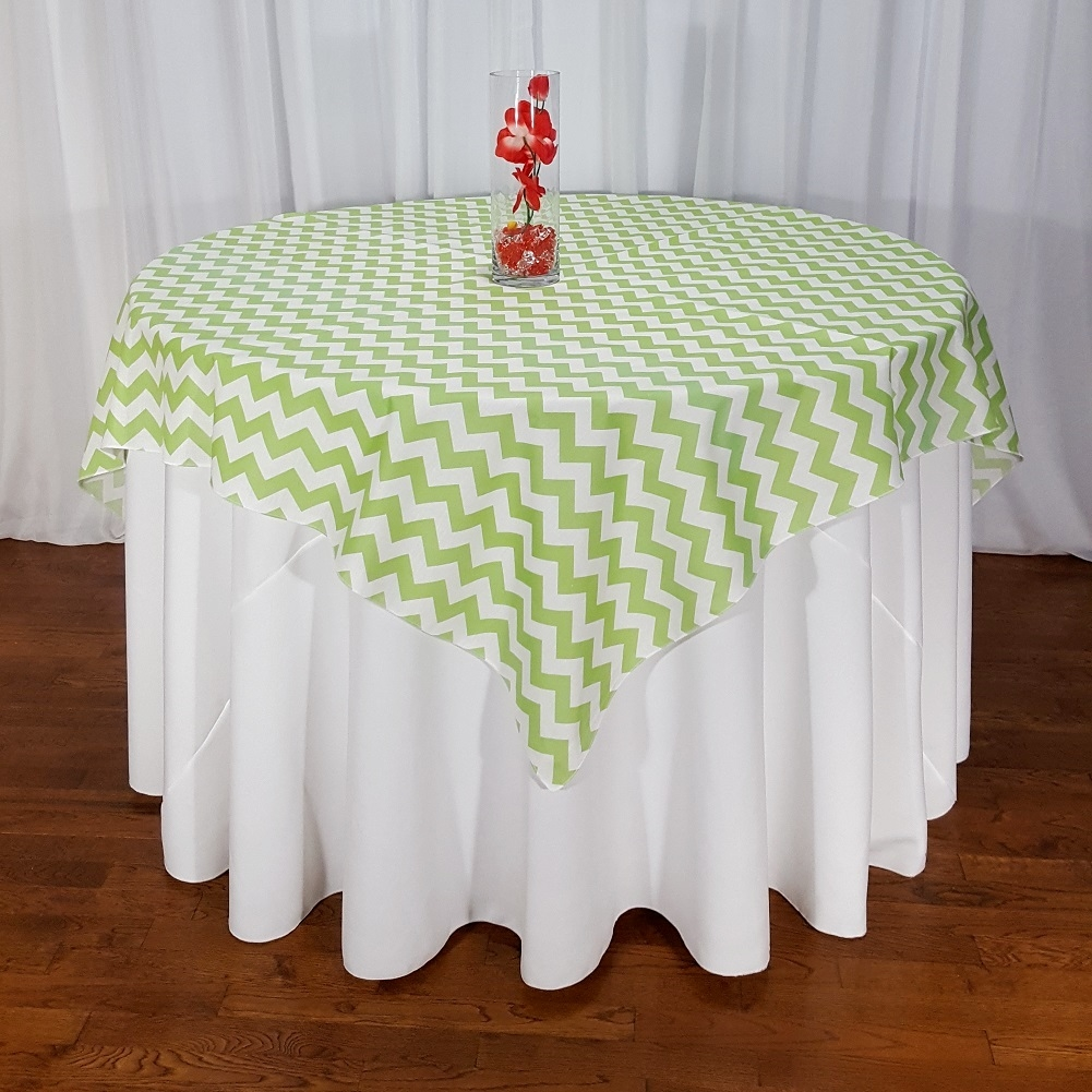 High Quality Poly Cotton Chevron Table Overlays