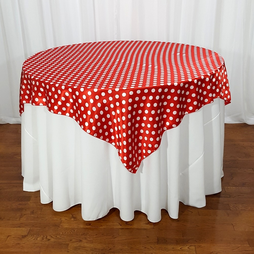 High Quality Satin Charmeuse Polka Dot Table Overlays