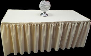 6 ft Pleated Fitted Polyester Tablecloth