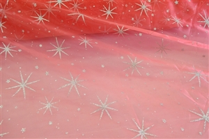 Star Glitter Organza Fabric By The Yard
