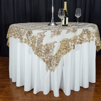 "CHAMPAGNE SWIRL SEQUIN LACE 72"" X 72"" OVERLAY"