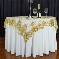 "GOLD SWIRL SEQUIN LACE 72"" X 72"" OVERLAY"