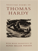 cover of Selected Poems of Thomas Hardy accompanied by 72 wood engravings by one of the finest wood engravers of all time, Agnes Miller Parker. Introduction by Professor Ian Rogerson