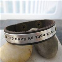 Personalized God Gave Me You Leather Cuff Bracelet, unisex