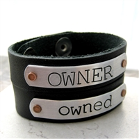 Owner / Owned Leather Cuff Bracelets - Set of 2