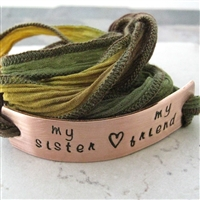 Sister's Bracelet, My Sister, My Friend, Silk Ribbon Wrap