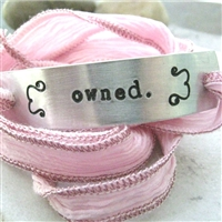 Owned Bracelet, silk ribbon wrap in your choice of color