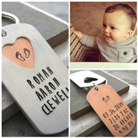 Personalized Birth Annoucement Key Chain