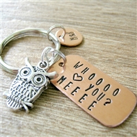 Personalized Owl Keychain, Who Loves You